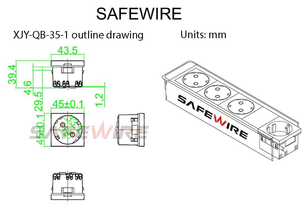 Safewire Datasheet 45 type  Safety shutter multi-sockets XJY-QB-35-1-2-3 M200505-7