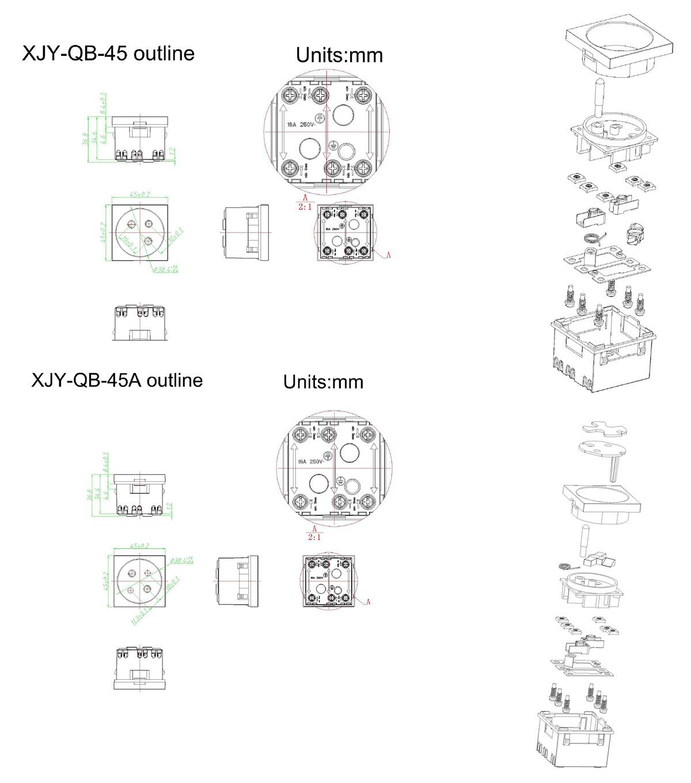Safewire Datasheet 45 type  Safety shutter multi-sockets XJY-QB-45-1-2-3 M191227-7