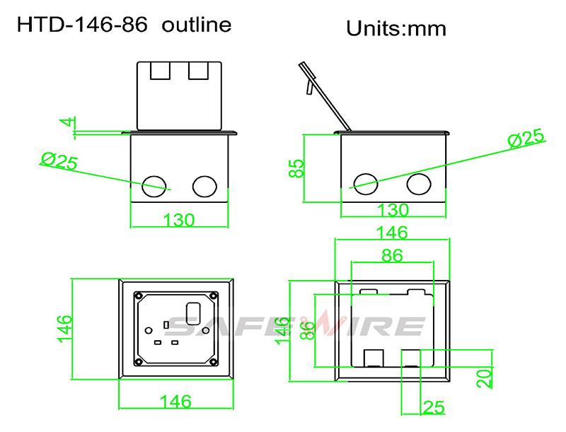 Safewire Datasheet of Floor box Safewire HTD-146K-86 200506 OK-5