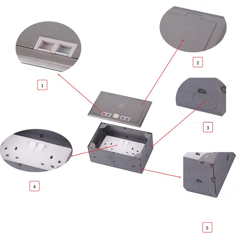 Safewire Datasheet of Floor box Safewire HTD-210K-86 M200506 ok-3