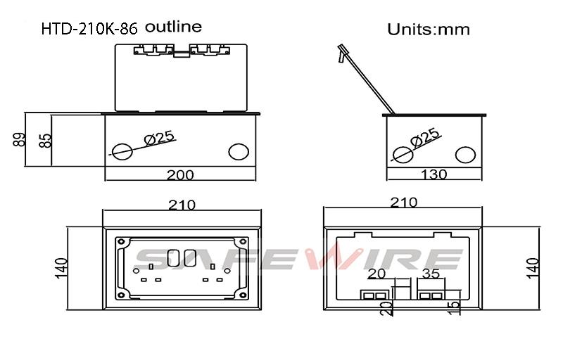Safewire Datasheet of Floor box Safewire HTD-210K-86 M200506 ok-4