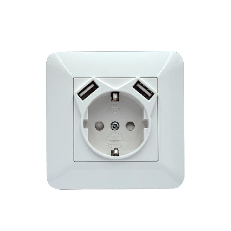 Safewire SF-80-USB-54  EU socket with 2 USB