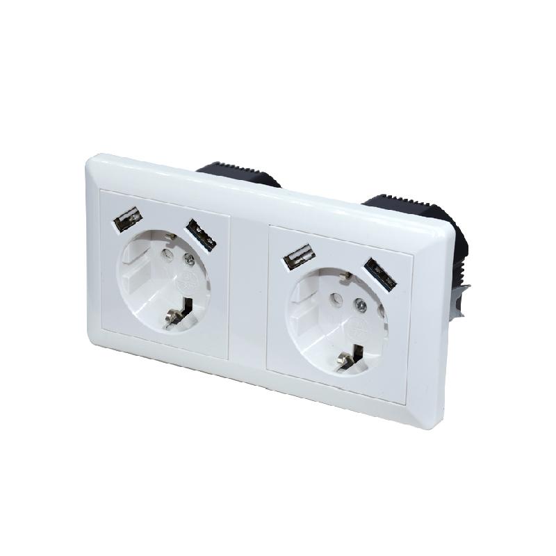 Safewire SF-USB-43E USB charging with 2 EU socket